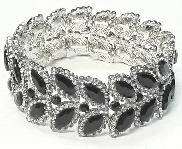 2 LAYER SILVER LEAF STRETCH BRACELET CLEAR BLACK STONES ( 3048 )