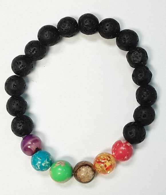 8MM BLACK AND MULTI COLOR STONE STRETCH BRACELET ( 83728 )