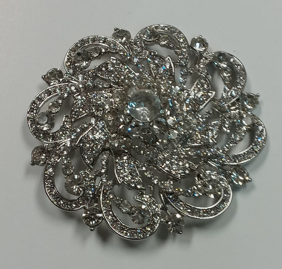 ANTIQUE SILVER BROOCH CLEAR STONES ( 2653 RD )