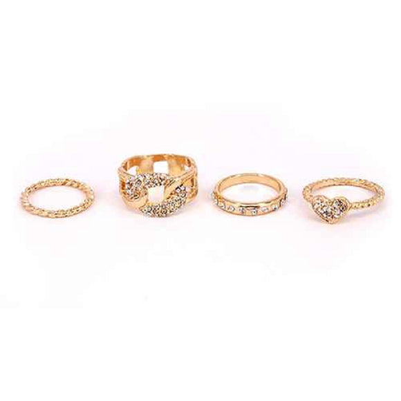 GOLD MIDI RING SET 4 PIECES ( 3018 GDCLR )
