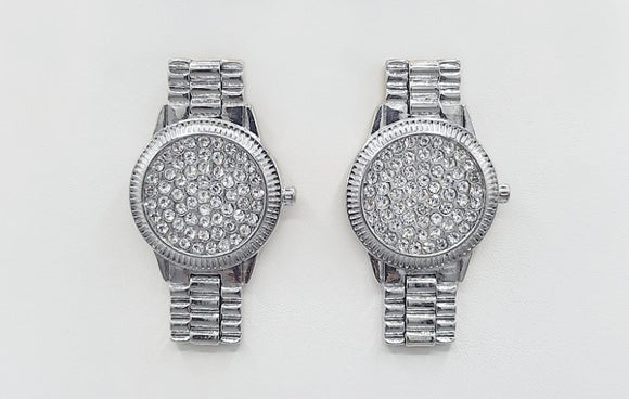 SILVER WATCH EARRINGS CLEAR STONES ( 1541 RH )