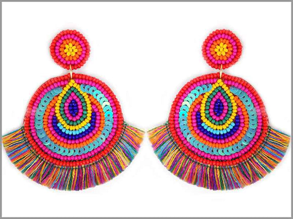 MULTI COLOR SEQUIN BEAD EARRINGS ( 3237 )