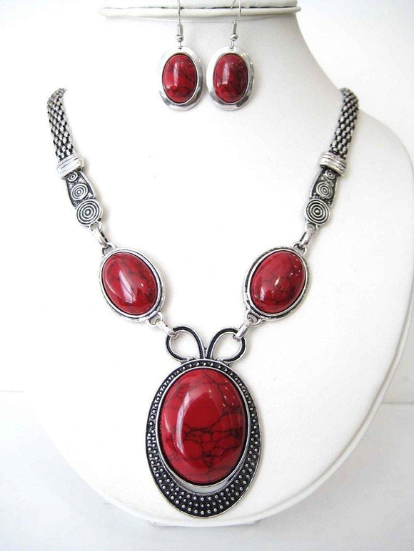 SILVER NECKLACE SET RED ( 2641 )