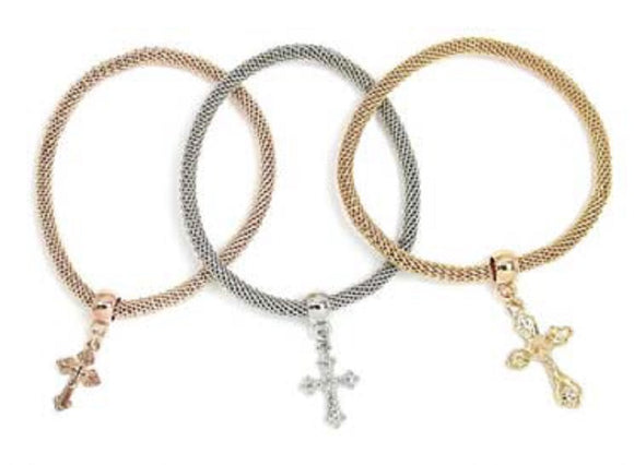 MULTI COLOR STRETCH BRACELET CROSS CHARMS ( 5249 S3T )