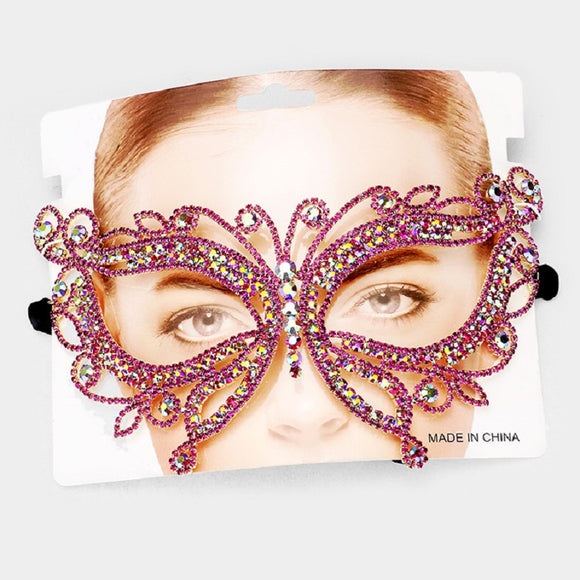 Gold Accent Fuchsia Pink and AB Rhinestone Butterfly Mask ( 2164 )