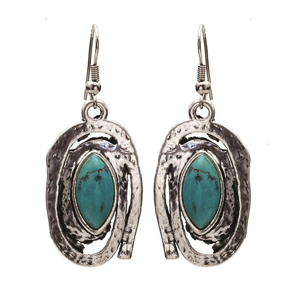 Burnish Silver Spiral Earrings with Marquise Turquoise Stones