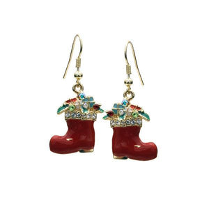 "1.5"" Long Dangle Santa Stocking Christmas Holiday Earrings ( 21975 )"