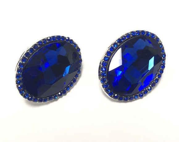 SILVER CLIP ON EARRINGS SAPPHIRE STONES ( 0198 C 3S )