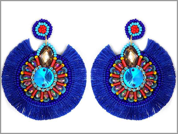 ROUND BLUE BEAD TASSEL EARRINGS ( 3251 )