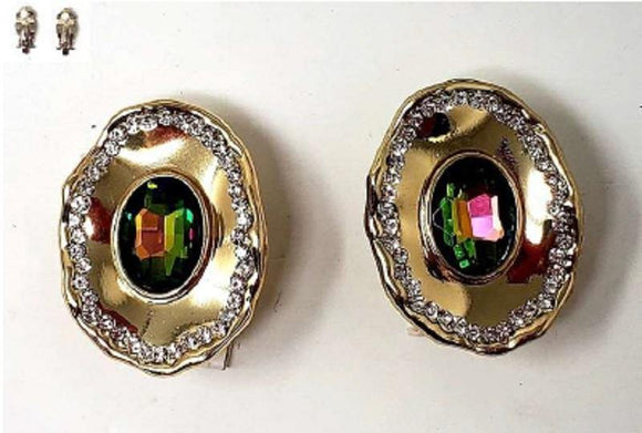 GOLD CLEAR GREEN AB STONE METAL CLIP ON EARRINGS ( 20006 )