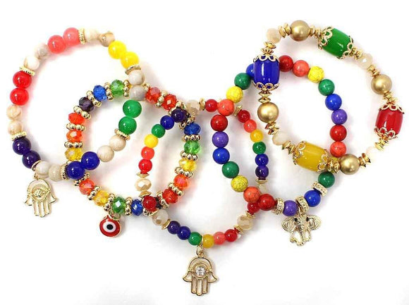 6 MULTI COLOR GOLD STRETCH BRACELETS HAMSA CHARM EVIL EYE ( 5021 MU1 )