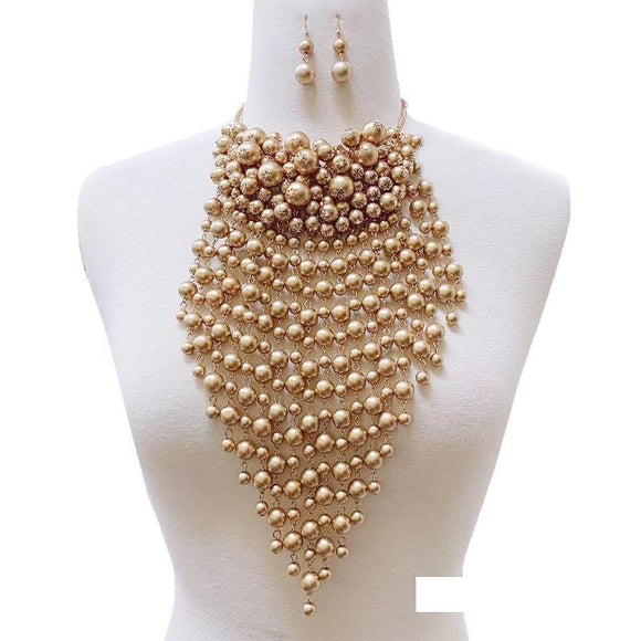 GOLD PEARL NECKLACE SET ( 128 G )