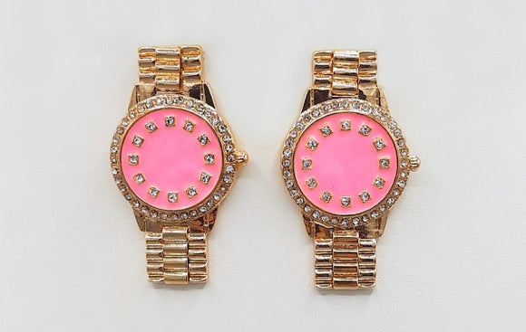 GOLD PINK WATCH EARRINGS CLEAR STONES ( 1541 GDPK )