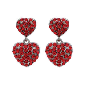 "1 1/4"" Red Rhinestone Heart Earrings ( 22596 )"