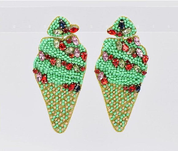 GREEN BEAD ICE CREAM EARRINGS ( 1192 MIN )