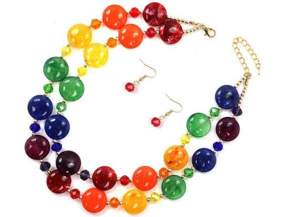 GOLD MULTI COLOR STONE NECKLACE SET ( 7193 )