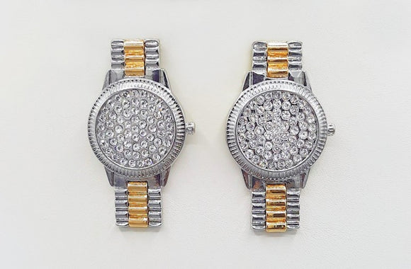 SILVER GOLD WATCH EARRINGS CLEAR STONES ( 1541 RHGD )