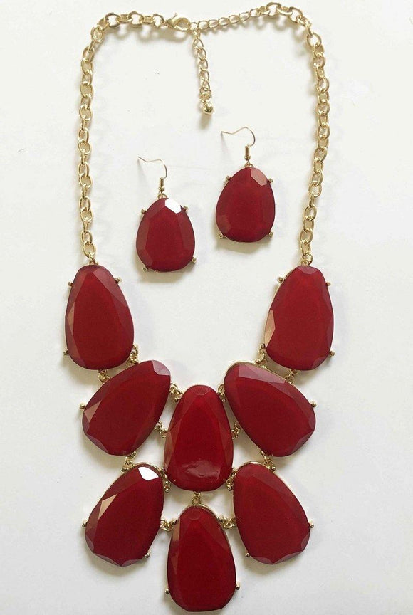 GOLD NECKLACE SET BURGUNDY STONES ( 2798 BUR )