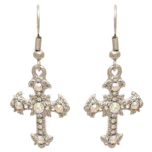 "1.5"" Clear and AB Rhinestone Dangling Cross Earrings ( 23912 )"