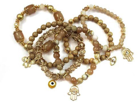 6 BROWN GOLD STRETCH BRACELETS HAMSA CHARM EVIL EYE ( 5021 GDHAZ )