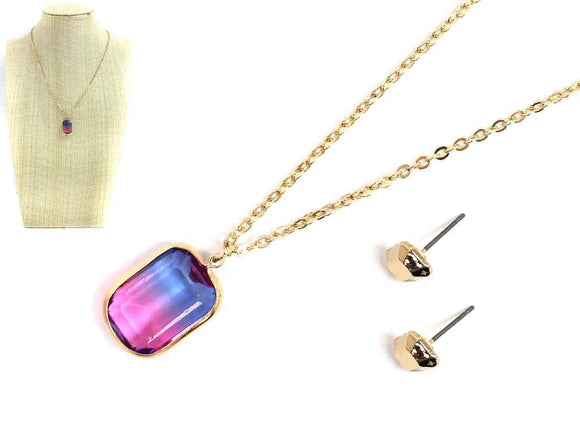 GOLD NECKLACE SET SQUARE OMBRE STONE PENDANT ( 6309 )