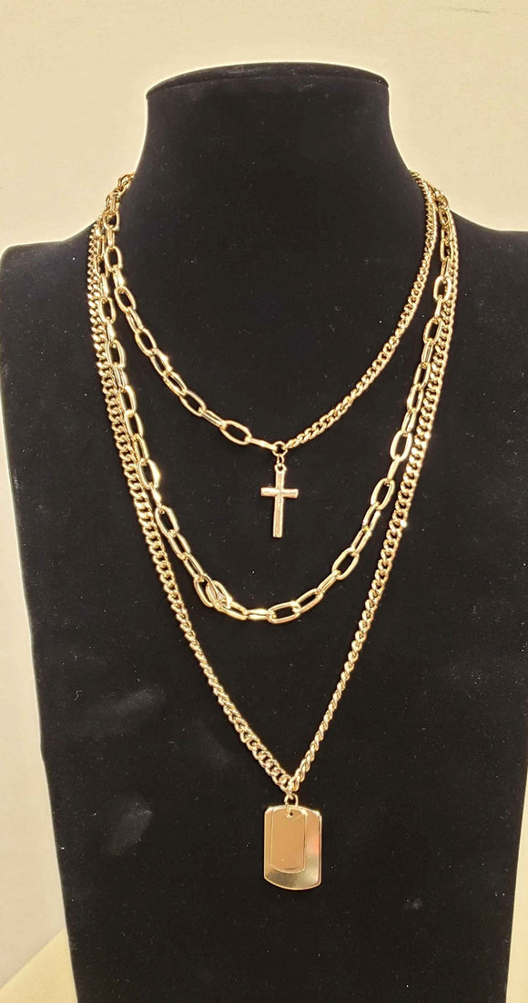 GOLD CHAIN NECKLACE LAYERED CROSS ( 1506 )