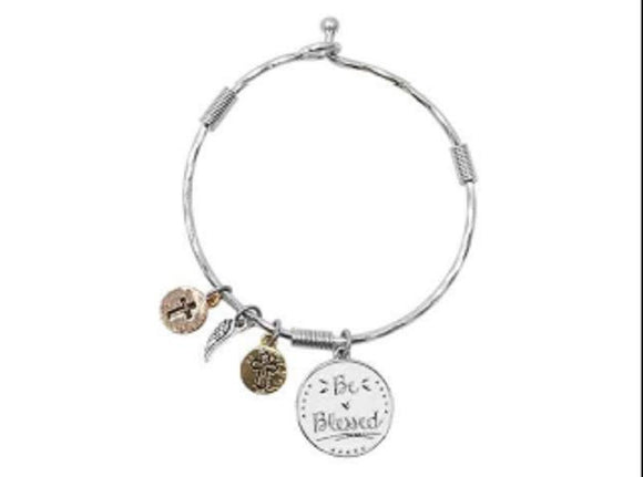 SILVER WHITE BLESSED CROSS CHARMS BRACELET ( 09016 WSWHT ) - Ohmyjewelry.com