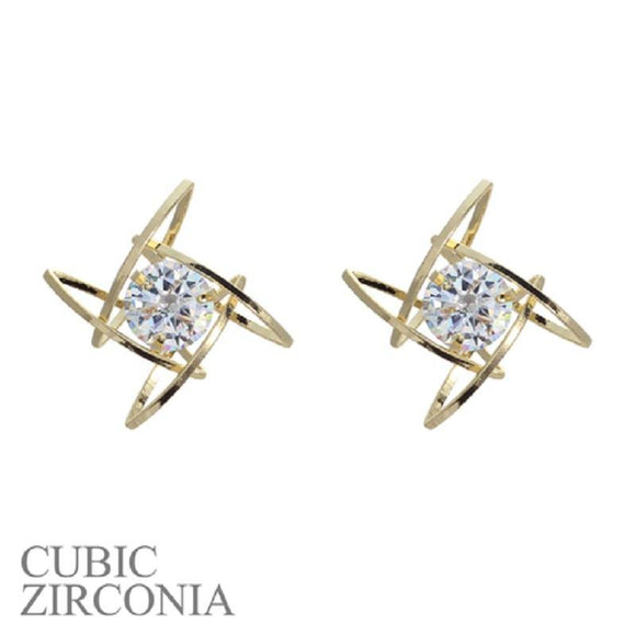 GOLD SQUARE EARRINGS WITH CLEAR CUBIC ZIRCONIA STONES ( 24432 )