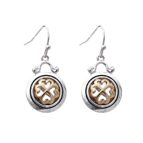 Two Tone Dangling Round Clover Design Earrings