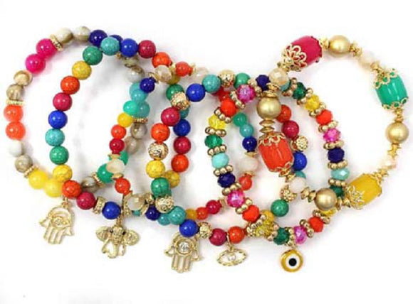 6 MULTI COLOR GOLD STRETCH BRACELETS HAMSA CHARM EVIL EYE ( 5021 GDMU2 )