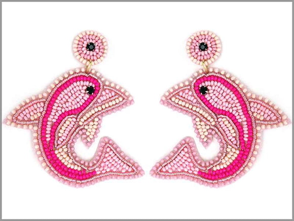 PINK WHITE BEAD DOLPHIN EARRINGS ( 3287 )