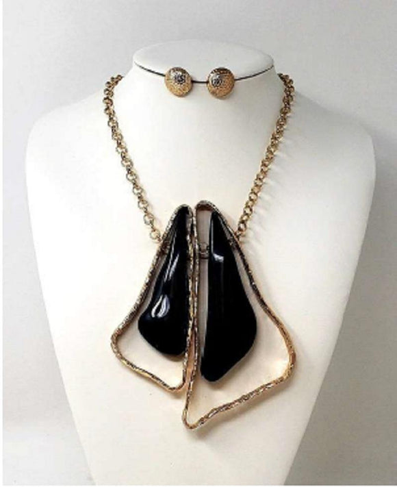 GOLD NECKLACE SET BLACK STONES ( 10019 )