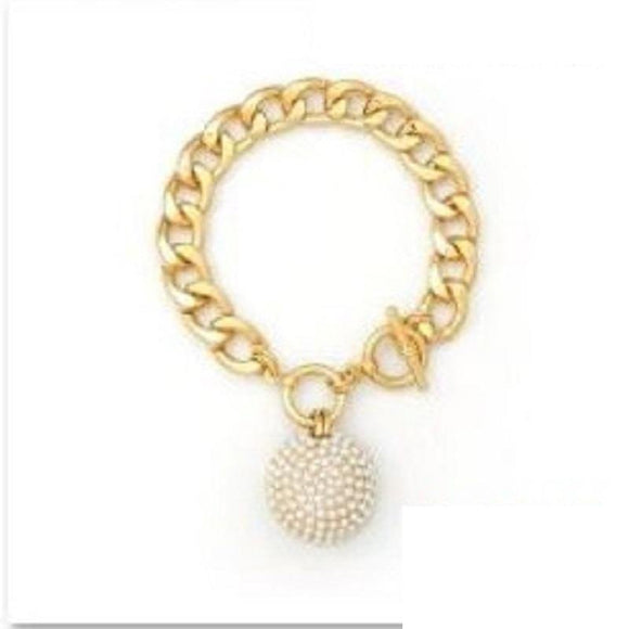 GOLD BRACELET BALL CREAM PEARLS ( 2046 GDCRM )