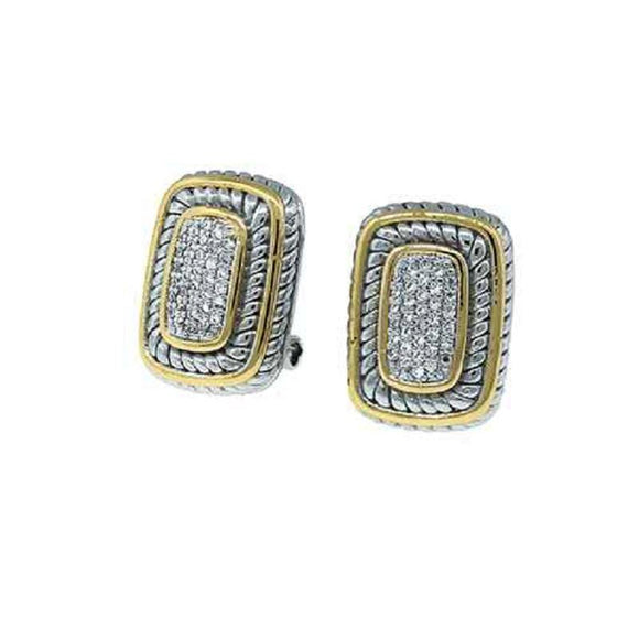 SILVER GOLD EARRINGS CLEAR CZ CUBIC ZIRCONIA STONES ( 7170 )