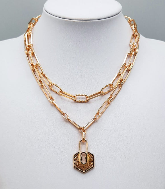 GOLD CHAIN NECKLACE LOCK PENDANT ( 1553 GD )