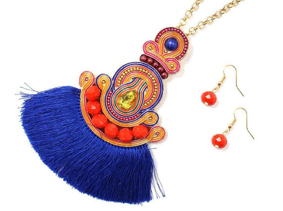 GOLD BLUE NECKLACE SET SOUTACHE SILK TASSEL PENDANT ( 6962 )