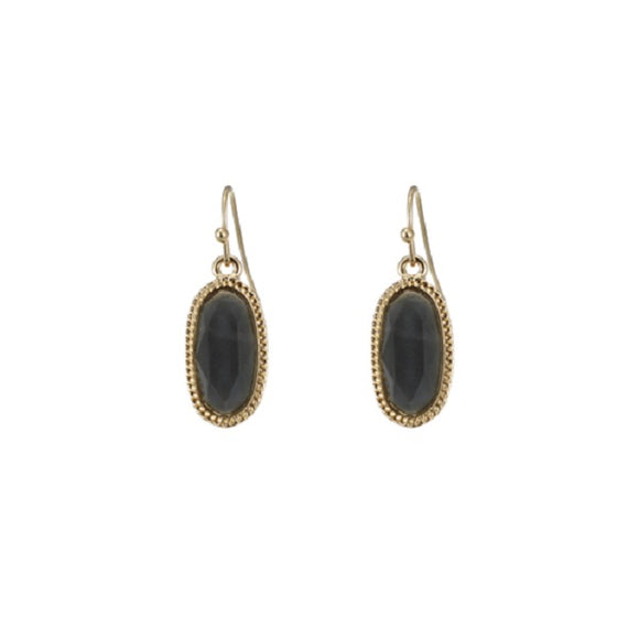 Black Diamond Oval Lacquer Horizontal Oval Fish Hook Earrings with Gold Accent ( 25409 )