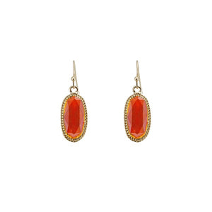 Coral Oval Lacquer Horizontal Oval Fish Hook Earrings with Gold Accent ( 25409 )