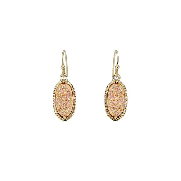 Light Peach Druzy Oval Shape Fish Hook Earrings ( 25410 )