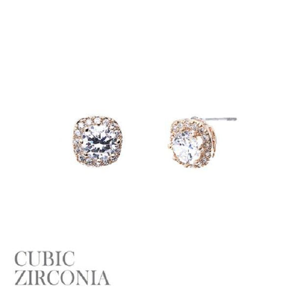 10mm Gold Clear CZ Cubic Zirconia Square Stud Earrings ( 25521 G )