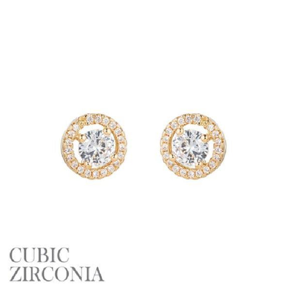 10mm Gold Clear CZ Cubic Zirconia Round Halo Stud Earrings ( 25536 G )