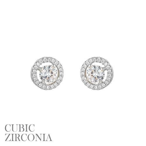 Silver Clear 8mm CZ Cubic Zirconia Round Stud Earrings ( 25731 )