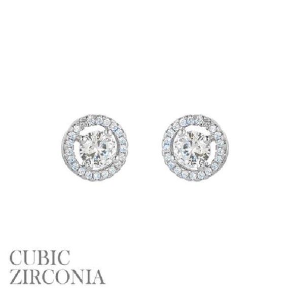 10mm Silver Clear CZ Cubic Zirconia Round Halo Stud Earrings ( 25536 S )