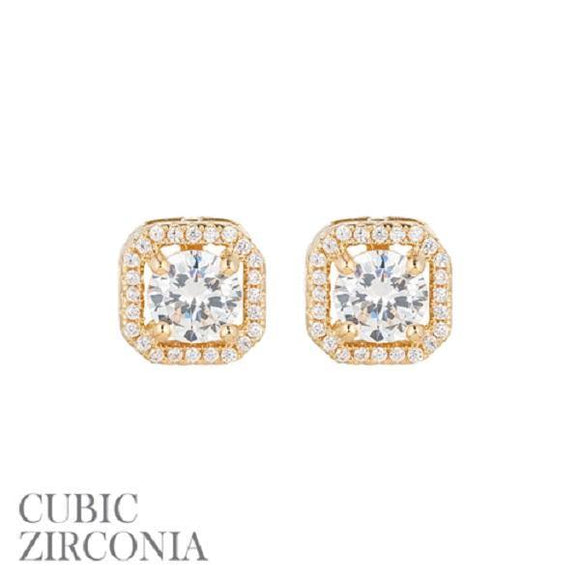 10mm Gold Clear CZ Cubic Zirconia Square Halo Stud Earrings ( 25538 )