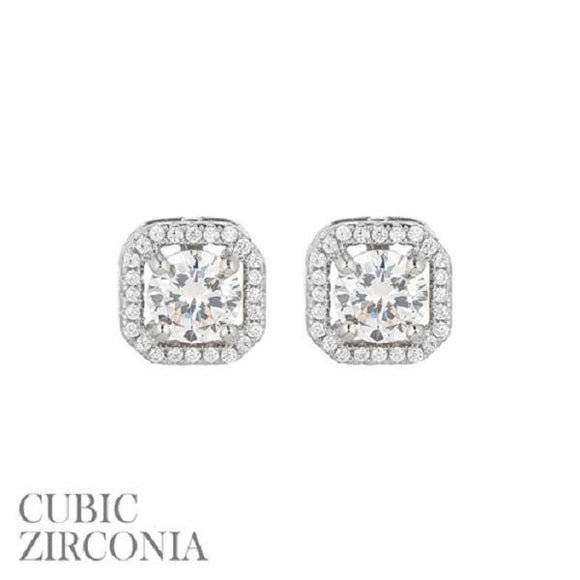 10mm Silver Clear CZ Cubic Zirconia Square Halo Stud Earrings ( 25538 S )