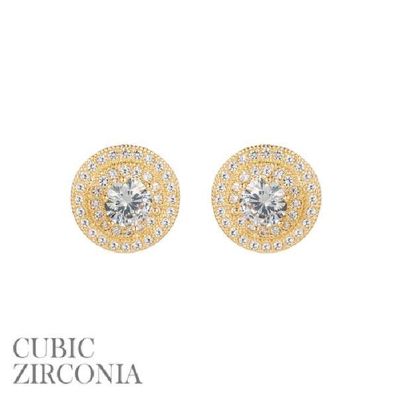 12mm Gold Clear CZ Cubic Zirconia Double Round Frame Stud Earrings ( 25541 G )