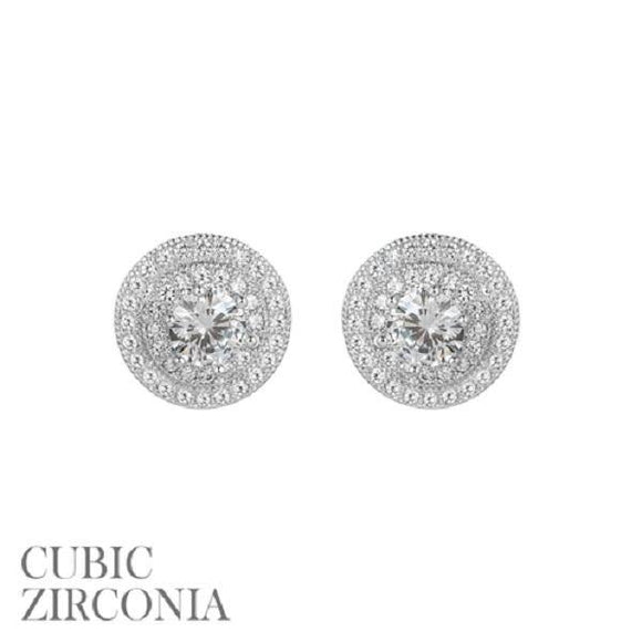 12mm Silver Clear CZ Cubic Zirconia Double Round Frame Stud Earrings ( 25541 S )