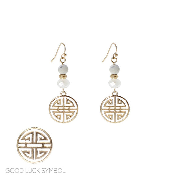 White Stone Beaded Dangle Earrings with Chinese Good Luck Symbol Charm ( 25610 )