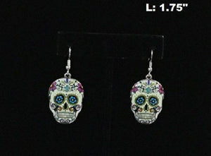 "1.75"" Multi Color Sugar Skull Dangle Earrings ( 2568 )"