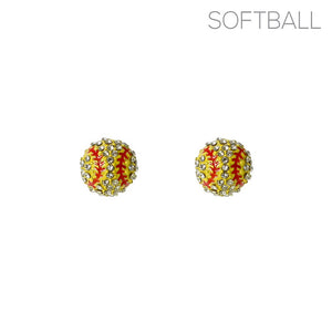 Yellow Baseball Earrings with Yellow Stones ( 25720 )